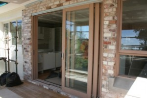 from deck to kitchen during build